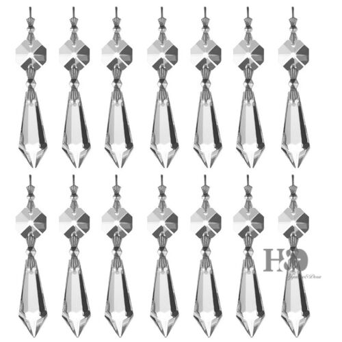 20 Clear Crystal Chandelier Lamp Icicle Prisms Parts Hanging Drops Pendants 38mm