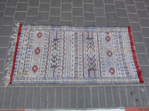 VINTAGE ANTIQUE MOROCCAN KILIM RUG HAND MADE 142x72-cm / 55.9x28.3-inches