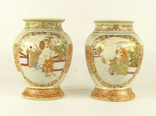 Antique Asian Japanese Chinise Hand Painted &  Gilded Ceramic  Pair of  Vases