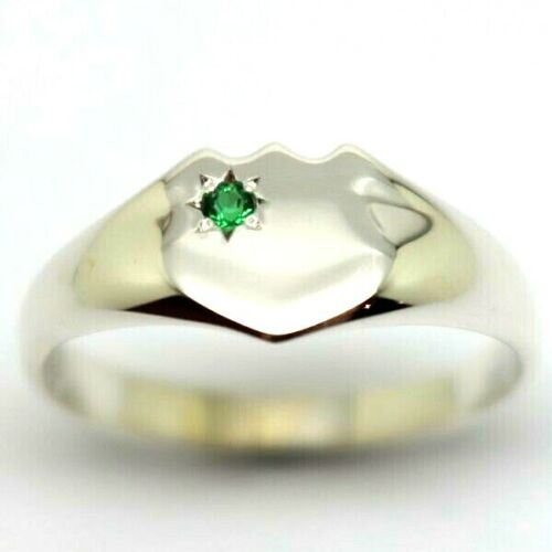 SOLID GENUINE LARGE MEN'S STERLING SILVER SHIELD GREEN EMERALD SIGNET RING