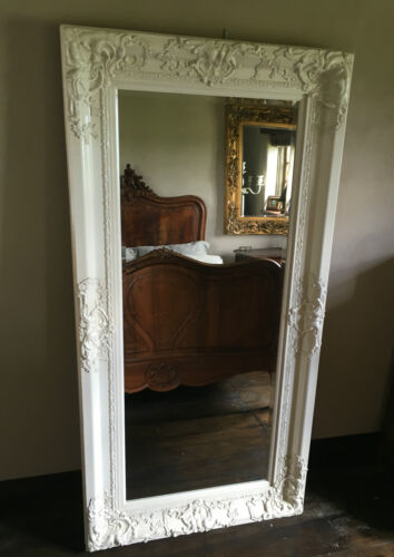 Antique White Ivory Cream Large Shabby Chic Period Over Mantle Wall Mirror 152cm