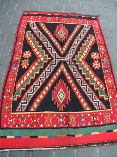 ORIGINAL ANTIQUE MOROCCAN WOOL CARPET RUG HAND MADE 154x93-cm / 60.6x36.6-inches