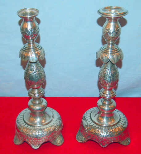 """RUSSIAN PAIR 84 SILVER CANDLESTICKS C1882 BY """"HE"""" 25.97 TOZ-ELEGAND HAN-CHASED"""