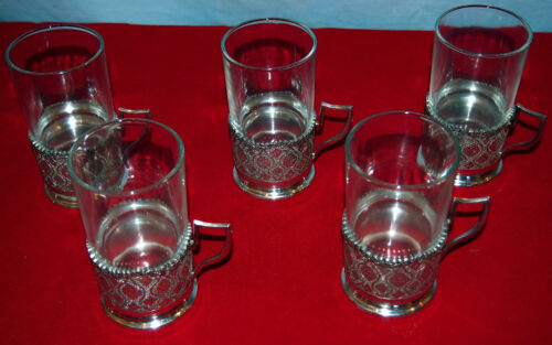84 SILVER  SET OF 5 TEA CUP HOLDERS LION STAMP BY :MOZAFARIAN- 517GR MIDDLE EAST