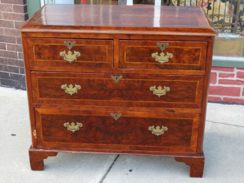 Antique colonial Geogre the II chippendale dresser chest with Burle walnut inlay