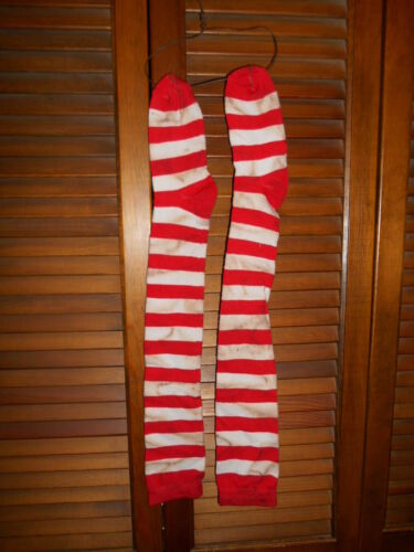 Grungy Primitive Socks Stockings - Red & White Stripe, Valentine,Santa,Christmas