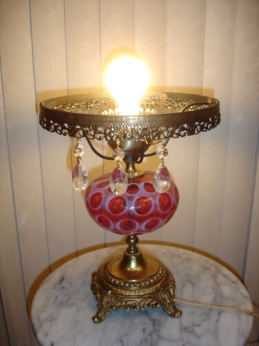 """FENTON CRANBERRY COIN DOT OPALESCENT GLASS LAMP, NO SHADE 10"""" FITTING"""