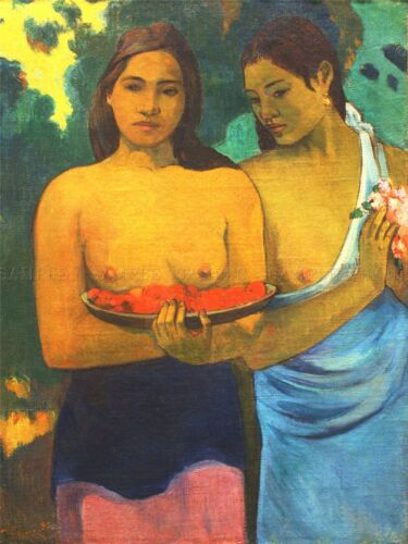 PAUL GAUGUIN TWO TAHITIAN WOMEN OLD MASTER PAINTING PRINT POSTER 2205OMLV