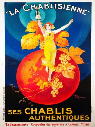 ADVERT CHABLIS WINE FRANCE ARTISTIC VINTAGE REPRO POSTER ART PICTURE 795PYLV