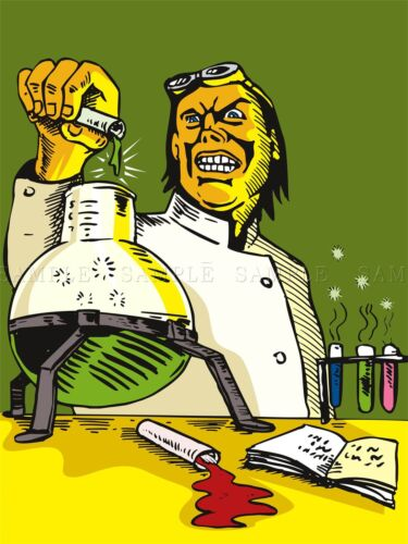 PAINTING CARTOON MAD SCIENTIST CHEMISTRY EXPERIMENT WEIRD COOL POSTER BMP10472
