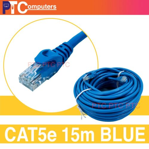 Cat5/Cat 5e 15m BLUE UTP Ethernet LAN Network Patch Cord Leads