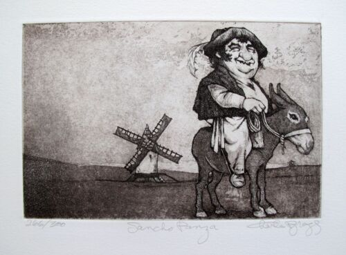 """CHARLES BRAGG """"SANCHO PANZA"""" Hand Signed Limited Edition Art Etching RARE!"""