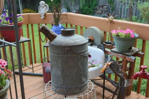 Antique Primitive Galvanized Can with Wood Handle & Stopper
