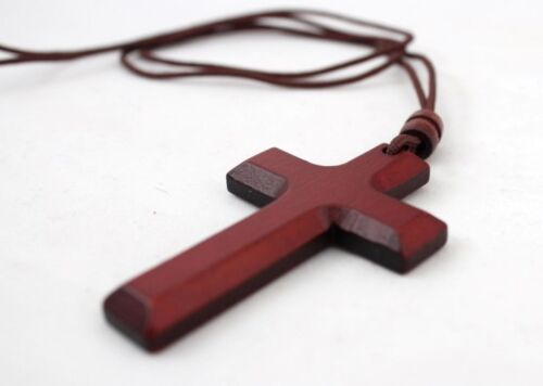 """Christian Wooden Wood Pectoral Cross Pendant with 35"""" Rope Cord Necklace Gift  A"""