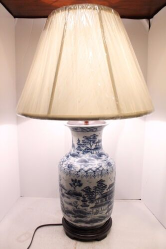 """Beautiful Blue and White Porcelain Vase Lamp Table Lamp Blue Willow 33""""H"""