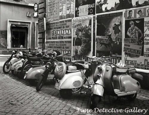 Vespa Scooters Lined up on a Street in Rome, Italy - 1955 - Vintage Photo Print