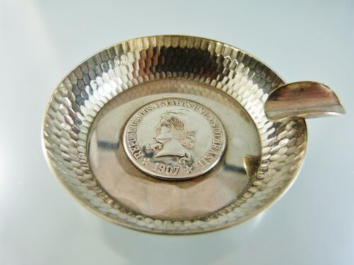 1907 BRASIL SILVER COIN BOTTOM CIGARETTE or CIGAR PERSONAL ASH TRAY aa