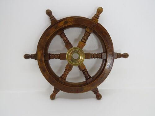12+1/4 INCH WOOD AND BRASS BOAT SHIPS WHEEL SAILBOAT DECOR