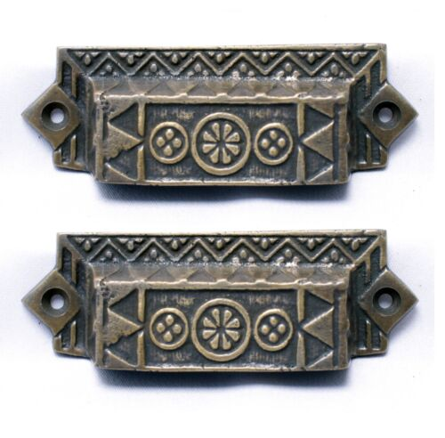 Exceptional Solid Brass Edwardian Style Bin Pulls or Sash Lifts Set of 2