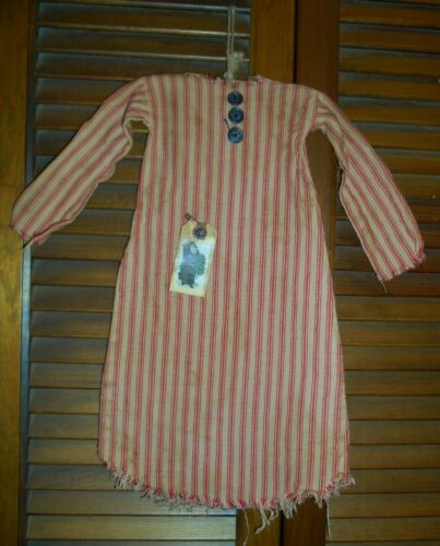 Prim DRESS w/hanger Primitive Wall Decor SANTA'S NIGHTSHIRT Christmas