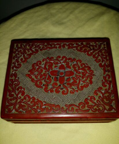 ANTIQUE  CHINESE Red Cinnabar Handcarved WOOD LACQUER JEWERLY BOX 4.5x35x1.5inch