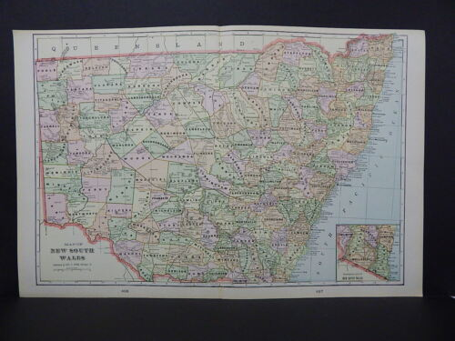 Map of New South Wales George F. Cram 1901 Double Page W17#79