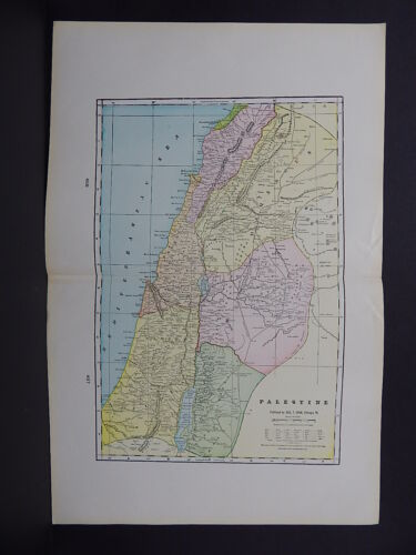 Map of Palestine George F. Cram 1901 Double Page R9#53