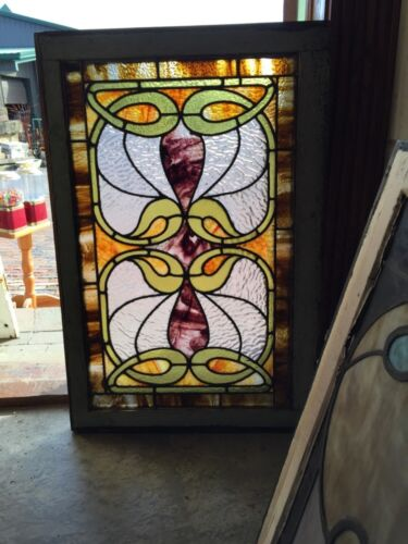 Sg 291 Antique Stained Glass Swirly Nouveau Window
