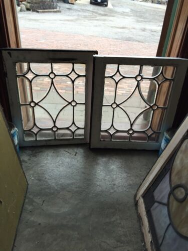 "Sg 313 One Matched Pair Antique All Beveled Glass Windows 20.5"" X 23.5"""