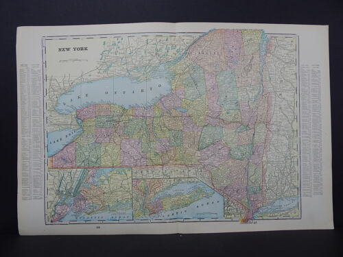 Map United States New York George F. Cram 1899 Double Sided W19#17