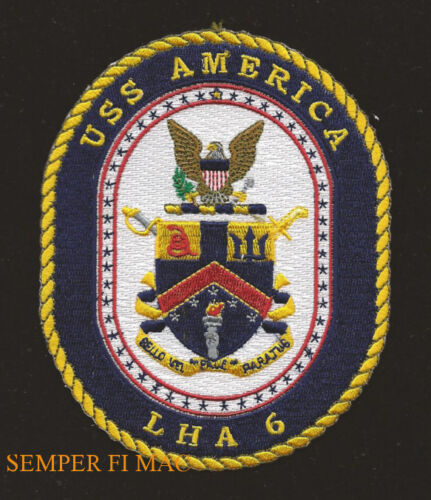 c6edff8c $12.9 USS AMERICA LHA-6 US NAVY HAT PATCH US MARINES NAS MCAS CARRIER  HARRIER HELO