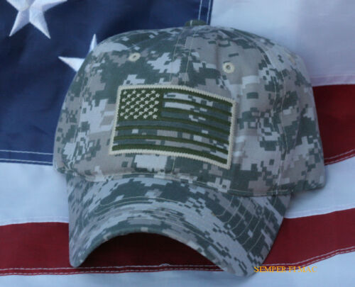 USA SCRIPT FLAG HAT EMBROIDERED OD GREEN DIGITAL CAMOUFLAGE CAP PIN UP VETERANOther Militaria (Date Unknown) - 66534