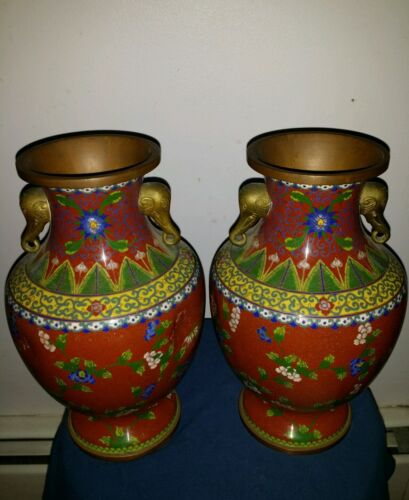 """Pair Beautiful Antiques Large Chinese Cloisonne Dragon Vases 10x6 inch""""Tall"""