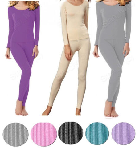 Womens 2pc Thermal Set Long John Underwear Waffle Knit Top and Bottom S M L XL
