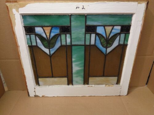 BEAUTIFUL TULIP STAINED GLASS WINDOW RARE