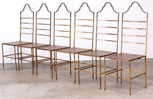 6 Italian Gilt Wrought Iron Chairs Florentine Salterini Style Hollywood Regency