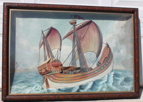 Antique Maritime 19th Century Folk Art Hand Painted Plaster Framed Cased Diorama