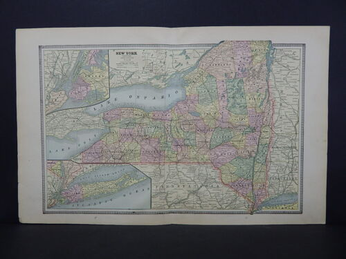 New York Map 1885 George Cram Double Page W18#39