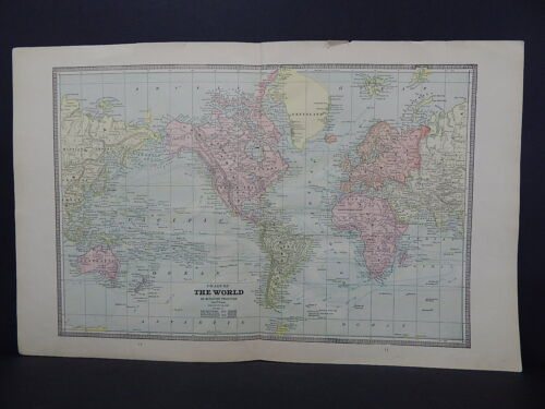 Vintage Map 1885 George Cram Double Page Double Sided Map of The World R9#44