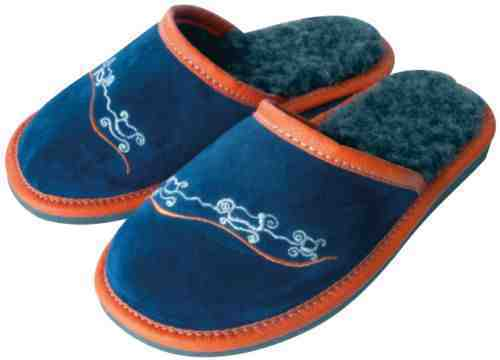 Boy's Leather / Wool Slippers Shoes, Hand Made Blue / Orange