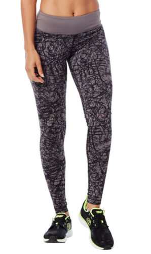 Authentic New Zumba Scribble Perfect Long Leggings Pants ~ Go For Gunmetal ~ NWT