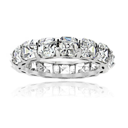 925 Sterling Silver 5.85ct Asscher-Cut CZ Eternity Wedding Band Ring ALL SIzes