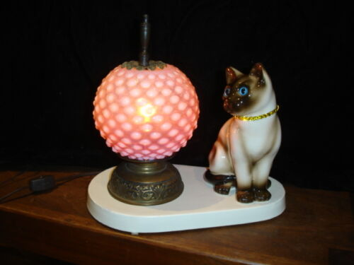 FENTON CRANBERRY HOBNAIL OPALESCENT GLASS SHADE KITTY VINTAGE LAMP #1