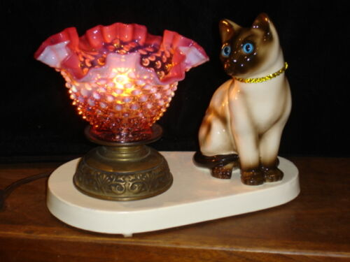 FENTON CRANBERRY HOBNAIL OPALESCENT GLASS SHADE KITTY VINTAGE LAMP #2