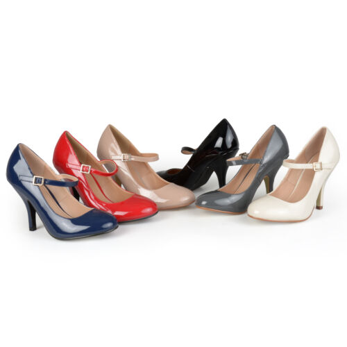 Journee Collection Womens Patent Finish Round Toe Mary Jane Pumps