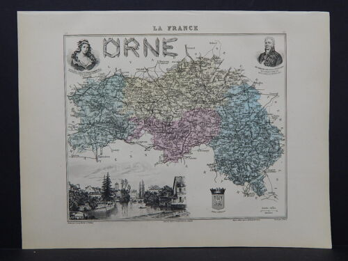 French Department Maps, Antique 1887 Orne #19