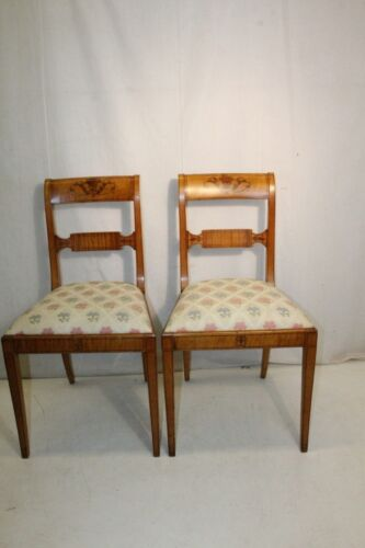 Charming Pair of Neo-Classical Style Satinwood Hand Painted American Made Chairs