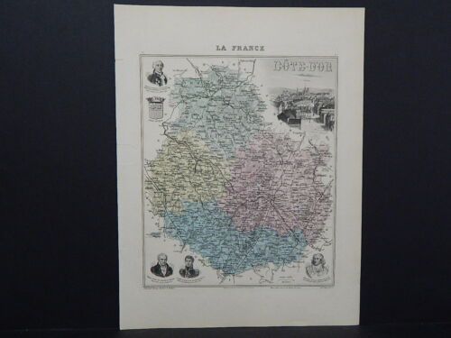 French Department Maps, Antique 1887 Cotedor #59