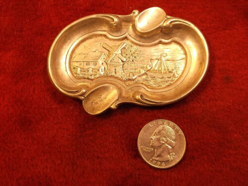 BEAUTIFUL OLD VTG ANTIQUE? .800 STERLING SILVER DUTCH COUNTRYSIDE ASHTRAY, VGC