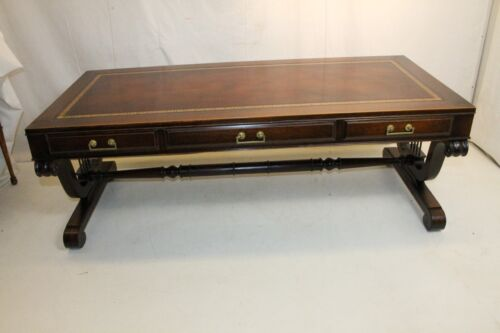 Charming Regency Style Solid Mahogany Leather Top Weiman Coffee Table